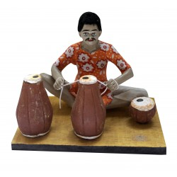 Terracotta Man With Tabla Making Tabla Showpiece