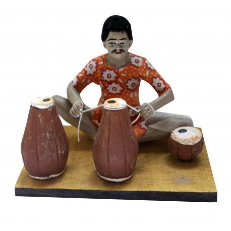Terracotta Man With Tabla Making Tabla Showpiece