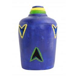 Painted Terracotta Carved Bottle Shape T Light Candle Holder