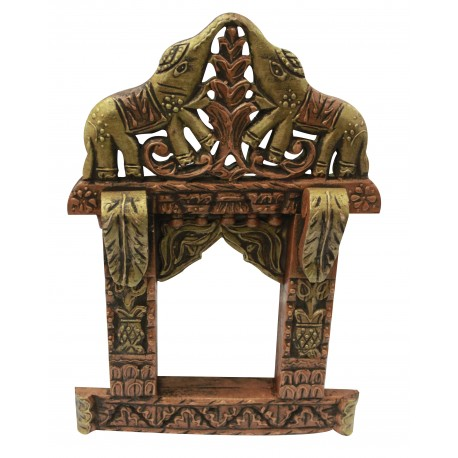 "Wooden Carved Rajasthani Jharokha 17"""