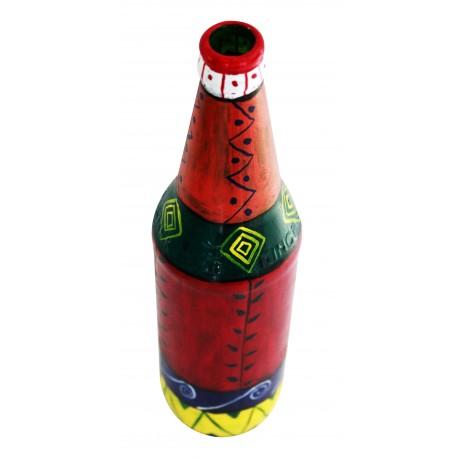 Painted Decorative Multi Colour Glass Bottle