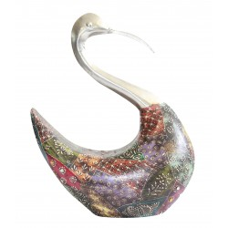 Wooden Painted Swan Decorative Showpiece Decor Emboss Painting