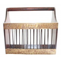 Wooden Painted Brass Embossed Magazine Holder Basket
