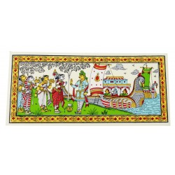 "Odisha Pattachitra Painting on Silk 6"" by 12"""