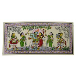 "Odisha Pattachitra Radha Krishna Painting On Silk 6"" by 12"""