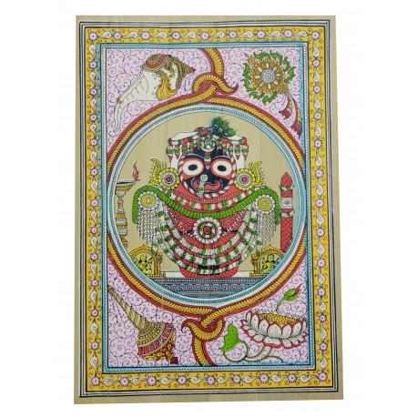 "Odisha Pattachitra Puri Jagannath Painting on Palm Leaf 12"" by 16"""