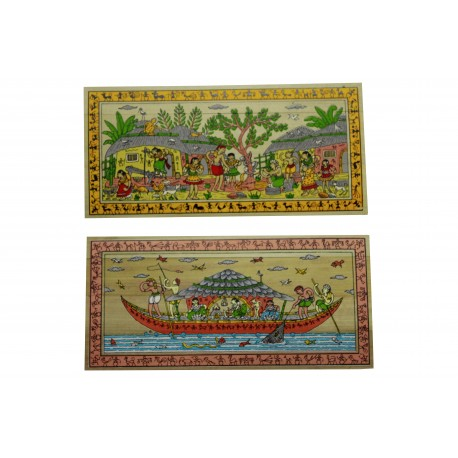 """Pattachitra Village Art Set of Two Palm Leaf Painting 4"""" by 8"""""""
