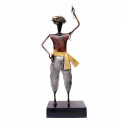 Wrought Iron Standing Village Musician Showpiece Figurine