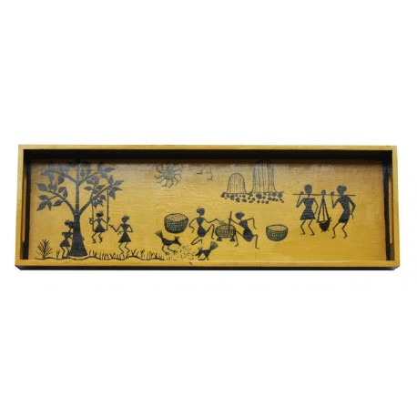 Handcrafted Yellow Handpainted Warli Art Wooden Serving/ Decorative Tray