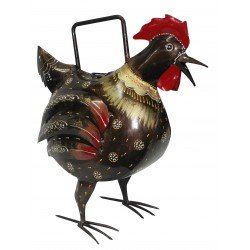 Ethnic Wrought Iron Rooster Shape Painted Pitcher Plants Watering Can