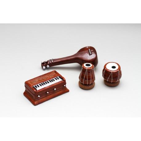 Terracotta (Clay) Miniature Indian Musical Set Tablas, Veena, Harmonium Decorative Piece