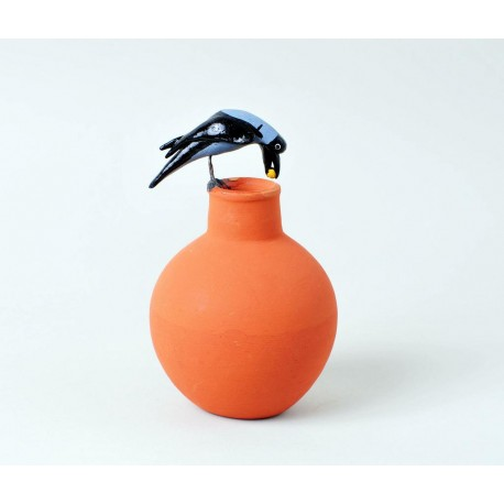 Thirsty Crow On Pot Terracotta Decorative Showpiece