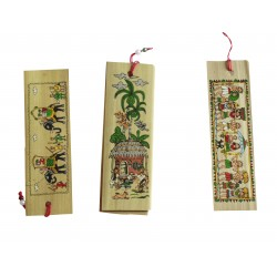 Miniature Palm Leaf Set of Three Handpained Tribal Art Orissa Art Bookmarks