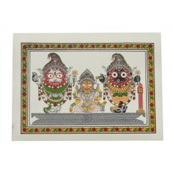 "Odisha Pattachitra Painting Puri Jagannath on Silk 7"" by 9 """