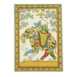 "Pattachitra Art Radha Krishna On Elephant Painting 10"" x 7"""