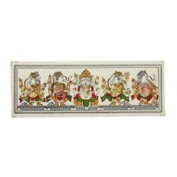 "Pattachitra Art Minitaure Painting Ganesha on Silk 3"" x 7.5"""
