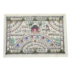 "Saura Tribal Art Painting on Tussar Silk 14"" by 20"""