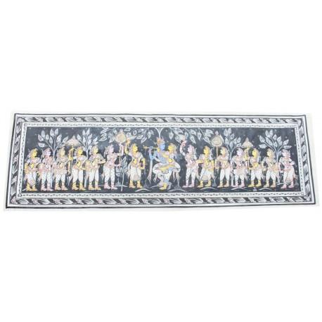 """Pattachitra Art Radha Krishna Silk Painting 14"""" x 43"""""""