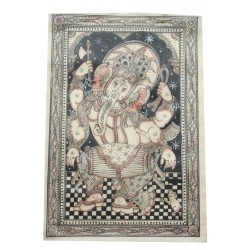 "Ganesha Painting On Silk Pattachitra Art 20"" x 13 """