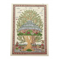 "Pattachitra Art Village Scene Painting 10"" by 14 """