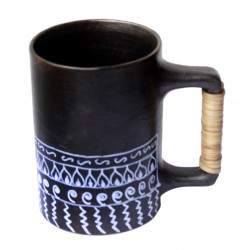 Painted Ethnic Art Black Pottery Beer Mug