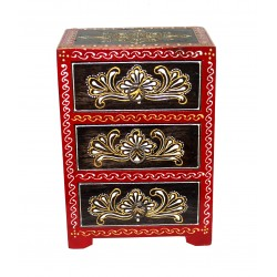 Wooden Painted Black Emboss Painting Chest of Drawers Jewellery Organiser Decorative Drawer