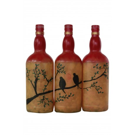 Set of Three Handpainted Decorative Bottle Bird on Tree Painting