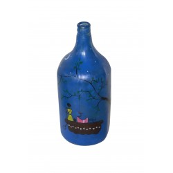 Handpained Warli Art Decorative Glass Bottle Lamp