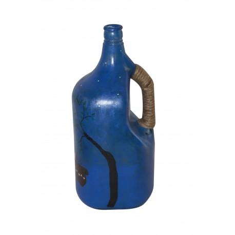 Handpained Warli Art Decorative Glass Bottle Lamp