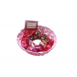 Bamboo Cane Rakhi Gift Basket With Candle and Handmade Chocolates