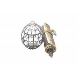 Iron Painted Cage With Candle and Scroll Rakhi Gift