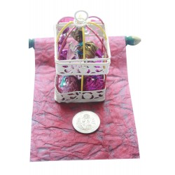 Iron Painted Cage With Handmade Chocolates, SIlver Coin and Scroll Gift