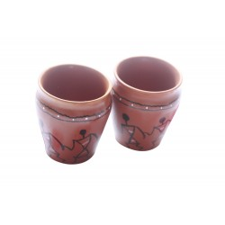 Handpainted Ethnic Warli Art Brother Sister Chai Kulhar Cup
