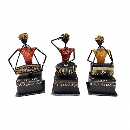 Painted Wrought Iron Set Of Three Sitting Musician Set