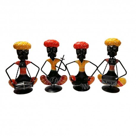 Painted Wrought Iron Set Of 4 Ethnic Musician Set