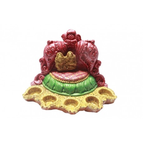 Clay Diwali Diyas Five Diyas With Lakshmi Ganesha on Singhasan Simhasan