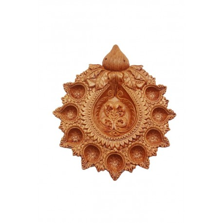 Kalash Shape Traditional Diwali Clay Diya 9 Diyas