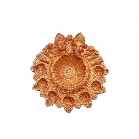 Lakshmi And Ganesh Head Handcrafted Clay Diya 7 Diyas