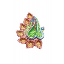 Hand Painted Clay/ Terracotta Peacock Shape Traditional Diwali Diya 7 Diyas