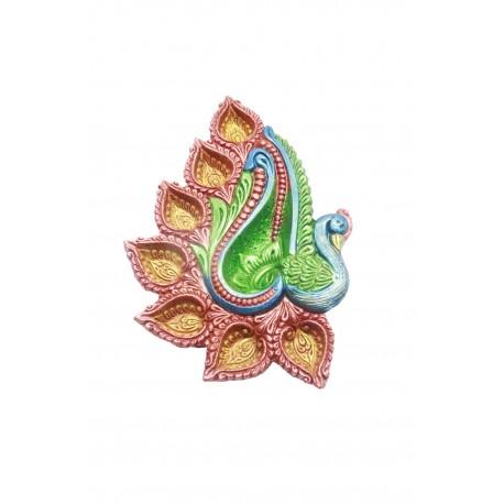 Hand Painted Clay/ Terracotta Peacock Shape Traditional Diwali Diya 7 Diyas