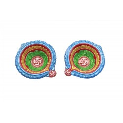 Set of Two Hand Painted Clay/ Terracotta Diyas Diwali Diya