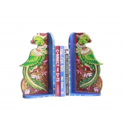 Wooden Decorative Peacock Design Painted Bookends Wooden Bookends