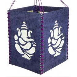 Handmade Paper Decorative Ganesha Lantern Diwali Lantern Lampshade Blue Square