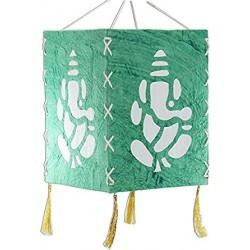 Handcrafted Handmade Paper Foldable Decorative Blue Ganesha Lantern Lampshde