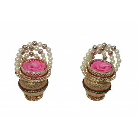 Set of Four Metal Kundan Tealight Holder Diwali Gift Tealight Diya