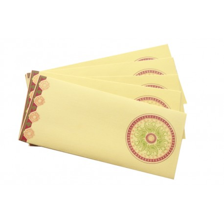 Tradtional Ethnic Design Gold Paper Money Envelope Set of 5