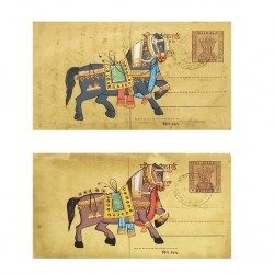 Set of Two Post Card Painting Horse Rajasthan Art
