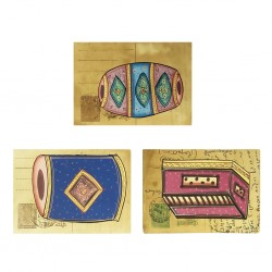 Set Of Three Post Card Painting Miniature Painting Musical Instrument