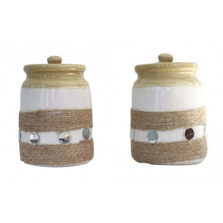 Set Of Two Twine Wrapped With Mirror Decoration Ceramic Barni Cookie Jar/ Pickle Jar 6""