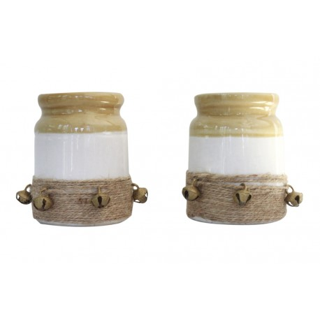 Set Of Two Traditional Ceramic White and Mustard Colour Barni/ PickleJar 4""